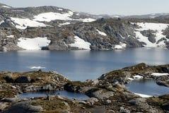 Het meer en de permafrost van de berg Stock Afbeeldingen
