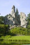 Het meer en de rots Stock Foto