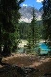 Het meer en Latemar van Carezza Stock Foto