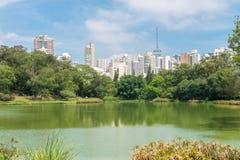 Het meer in het Aclimacao-Park in Sao Paulo stock fotografie