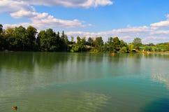 Het meer Jordanië, Tabor, Tsjechische Republiek, Augustus royalty-vrije stock foto