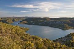 De vallei van Krka van de rivier Stock Foto