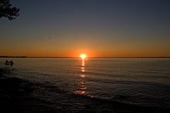 Het meer Ontario Canada van de zonsondergang simcoe stock foto