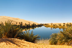 Het Meer van Alma van Umm - de Oase van de Woestijn, de Sahara, Libië stock afbeelding