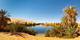 Het Meer van Alma van Umm - de Oase van de Woestijn - de Sahara, Libië Stock Foto's