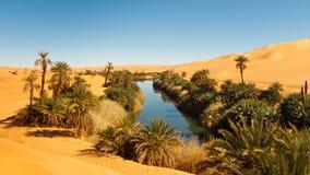 Het Meer van Alma van Umm - de Oase van de Woestijn - de Sahara, Libië Royalty-vrije Stock Afbeeldingen