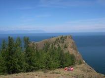 Het meer van Baikal, Rusland Open plekken Mening van de berg Het meer Baikal is het diepste meer in de Wereld Stock Foto's
