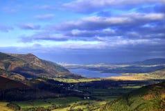 Het Meer van Bassenthwaite & het Landbouwbedrijf van de Wind stock afbeeldingen