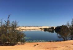 Het meer van Bausen met zandheuvel in zuidelijk Vietnam Royalty-vrije Stock Foto's