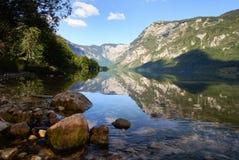 Het meer van Bohinj in Slovenië Stock Foto's