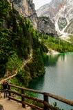 Het meer van Braies Stock Foto