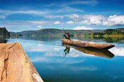 Het meer van Bunyonyi in Oeganda Stock Foto's