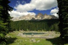 Het meer van Carezza Stock Foto