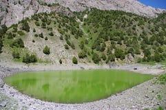 Het meer van de berg op achtergrond met hoge berg Royalty-vrije Stock Foto