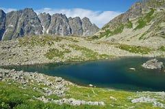 Het meer van de berg in vallei Mieguszowiecka in Slowakije Stock Foto's