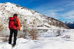 Het Meer van de Berg van de Winter van de wandelaar royalty-vrije stock fotografie