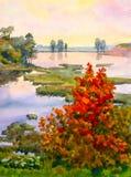Het Meer van de herfst stock illustratie