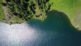 Het meer van de landschapsberg in het bos die met de hommel schieten stock videobeelden
