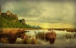Het meer van de landschapslotusbloem bij roi yod nationaal park van khaosam Stock Foto