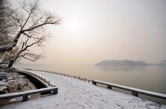 Het meer van de sneeuw stock afbeeldingen