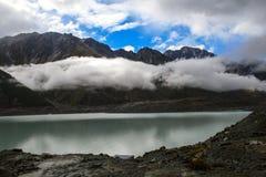 Het meer van de Tasmangletsjer in Nieuw Zeeland Stock Fotografie