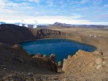Het meer van de Vitikrater, IJsland Stock Fotografie