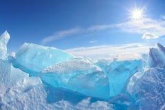 Het meer van de winterbaikal Stock Afbeeldingen