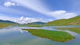 Het meer van de zomer onder blauwe hemel Royalty-vrije Stock Afbeelding