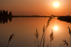 Het Meer van de zonsondergang Stock Foto's