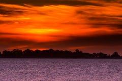 Het Meer van de zonsondergang stock fotografie
