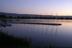 Het Meer van het oeverpark in avonden, Mountain View, Californië, de V.S. royalty-vrije stock foto's