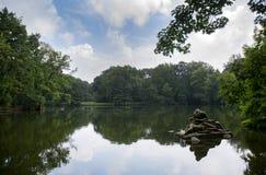 Het meer van het Treptowerpark, Berlijn Royalty-vrije Stock Foto's