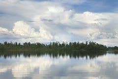 Het meer van Minnesota met bomen en dramatische wolken Stock Foto's