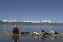 Het Meer van Namtso in Tibet Stock Afbeeldingen