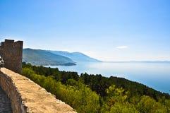 Het meer van Ohrid van het Kasteel van Samuil Stock Foto
