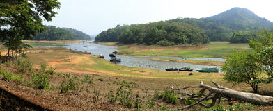 Het Meer van Periyar, Kerala, panorama Royalty-vrije Stock Foto
