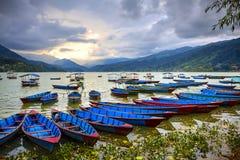 Het Meer van Phewa, Pokra, Nepal Royalty-vrije Stock Afbeeldingen