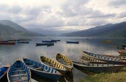 Het Meer van Phewa, Pokra, Nepal Stock Foto's