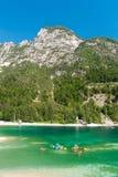 Het meer van Predil, in Julian Alps dichtbij Tarvisio, tijdens de zomer stock foto's