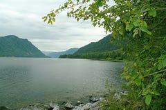 Het meer van Teletskoye, de baai van de baaisteen. Gorny Altai Stock Afbeelding