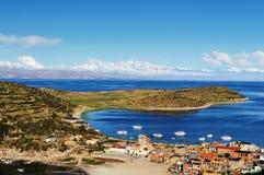 Het meer van Titicaca, Bolivië, Isla del Sol landschap Royalty-vrije Stock Afbeelding