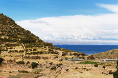 Het meer van Titicaca, Bolivië, Isla del Sol landschap Stock Fotografie