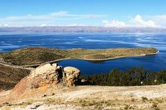 Het meer van Titicaca, Bolivië, Isla del Sol landschap Stock Foto's