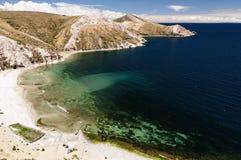 Het meer van Titicaca, Bolivië, Isla del Sol landschap Royalty-vrije Stock Afbeeldingen