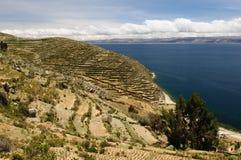 Het meer van Titicaca, Bolivië, Isla del Sol landschap Royalty-vrije Stock Foto