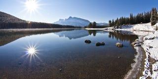 Het Meer van twee Hefboom in Banff Stock Fotografie