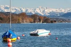 Het meer van Zürich met alpen Stock Fotografie