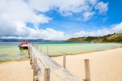 Het meer wit strand van Colombia Tota stock foto's