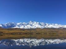 Het meerbezinning van de bergrand Het verbazende Landschap van de Berg De Bergen van Altai Kuraisteppe Dzhangyskolmeer royalty-vrije stock foto's