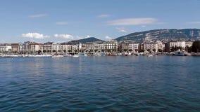 Het meerpanorama van Genève stock video